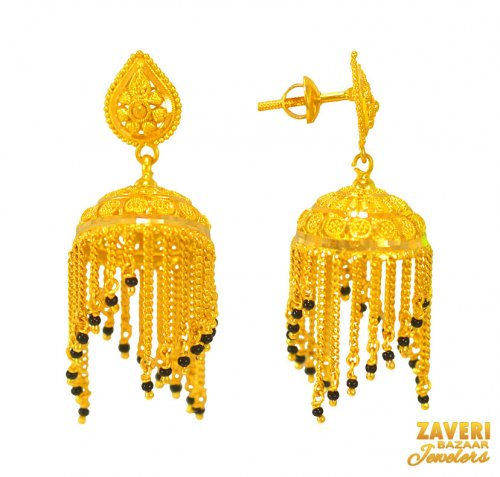 22 Kt Gold Jhumki Earrings
