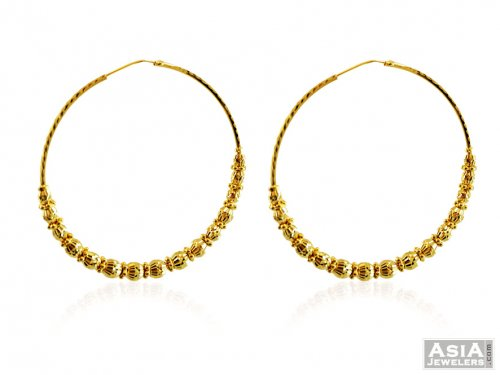 22K Gold Fancy Hoops Earrings AjEr 22Kt Gold Indian Hoop