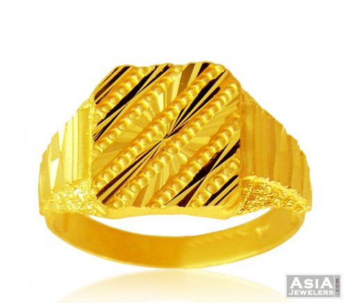 22K Mens Gold Ring AjRi 22Kt Gold Men s ring with frost