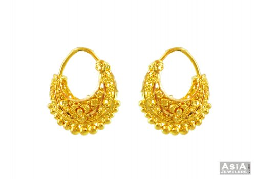 22K Fancy Basket Style Earrings AjEr 22Kt Fancy Gold