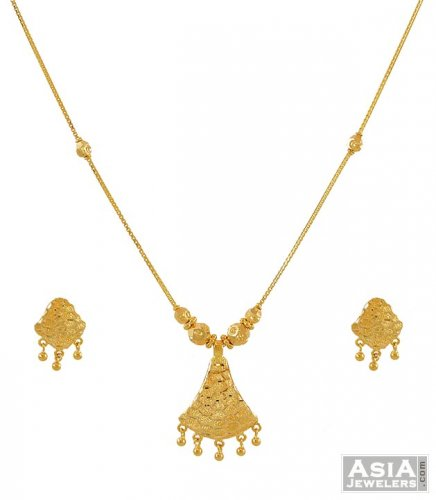 22 Karat Gold Necklace Set AjNs52997 22K Gold beautifully hand