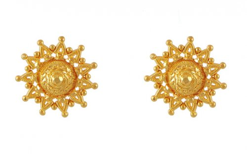 f6649a595 22k Gold Tops Earring - AjEr51222 - 22k gold tops earring with fine ...