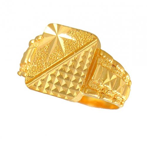 Men s Gold Ring AjRi Gold Men s Ring with Diamond cuts
