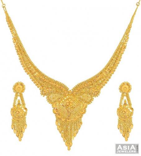 22K Gold Necklace Set AjNs53633 22K Gold fancy Necklace and