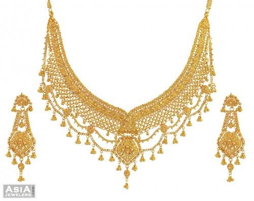 cd7a6c78908 22k Designer Necklace Set - AjNs54510 - 22k gold designer necklace ...