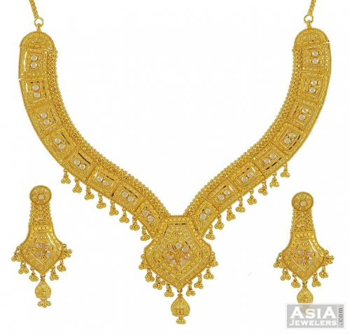 22K Gold Filigree Necklace Set AjNs 22K Gold Necklace and