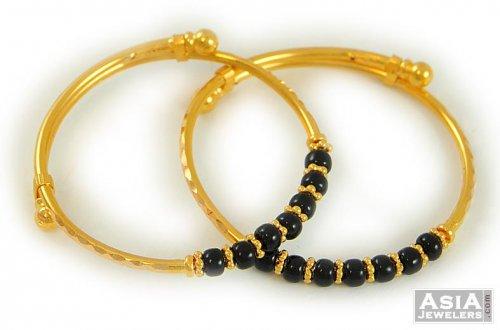 Black Beads Baby Bangles 22k Ajba52754 22k Gold