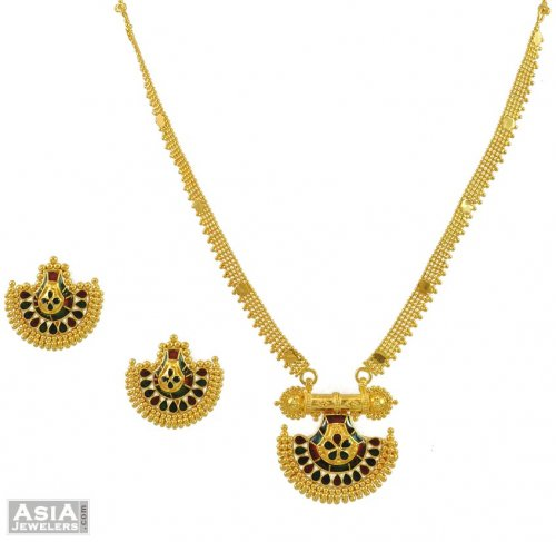 22K Meenakari Necklace Set AjNs54460 22K gold necklace and