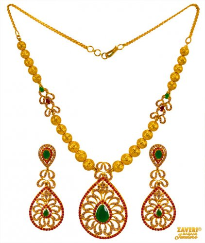 22K Gold Colored Stone Necklace Set