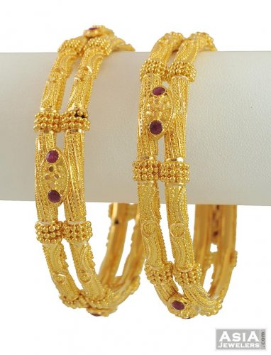 20aaba92aed Gold Designer Bangles - AsBa53794 - 22K Gold Fancy Ruby Studded ...