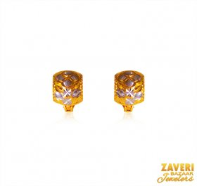 22kt Gold Two Tone Clipon ( Gold Clipon Earrings )