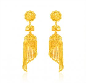 22k Gold Long Traditional Earring ( 22K Gold Earrings )