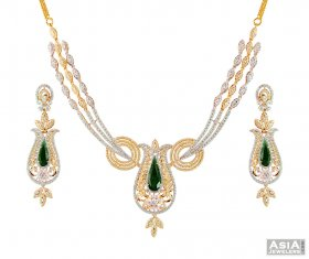 22K Designer Emerald Necklace Set