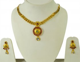 Fancy Antique Necklace Set 22k ( 22K Antique Necklace Sets )
