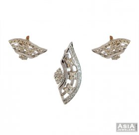 18k Fancy Diamond Pendant Set