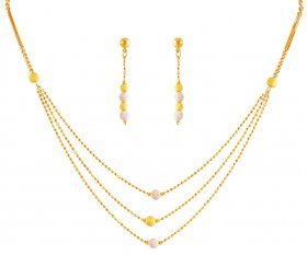 22K 2 Tone Layered Necklace Set ( 22K Light Necklace Sets )