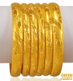 22K Gold Machine Cuts Bangle Set