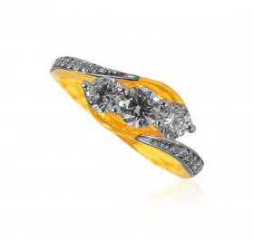 22KT Gold CZ Solitaire Ladies Ring