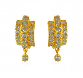 22K Gold CZ Clipon Earrings  ( Gold Clipon Earrings )