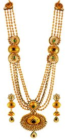 22K Gold Antique Long Necklace Set ( 22K Antique Necklace Sets )