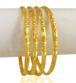 22K Gold Machine Bangles (4 pcs)