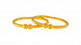 22k Gold Fancy Baby Kada (2Pc)