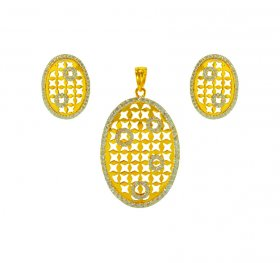 22K Gold Fancy Pendant Set  ( Precious Stone Pendant Sets )