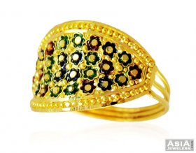 Traditional Indian Meena Gold Ring ( 22K Gold Rings )