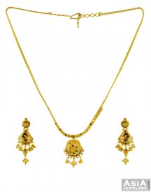 22K Gold Meenakari Necklace Set ( 22K Light Necklace Sets )