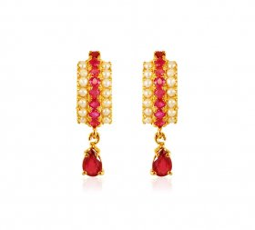 22k Gold Ruby Pearl Earrings ( Gemstone Earrings )