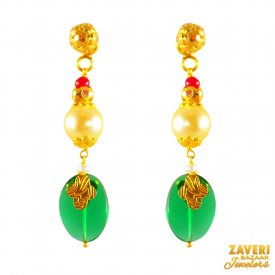 22kt Gold Pearls Long Earrings ( Gemstone Earrings )