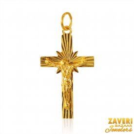 22K Gold Jesus on Cross Pendant