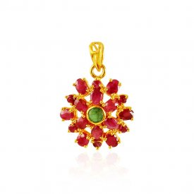 22k Gold Ruby Floral  Pendant  ( Gold Fancy Pendants )