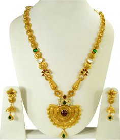 22k Gold Antique Patta Haar Set ( 22K Necklace Sets (Long) )