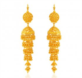 22K Gold Layered Jhumki Earrings