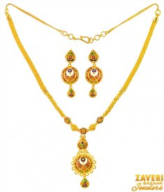 22k Meenakari Fancy Necklace Set  ( 22K Gold Necklace Sets )