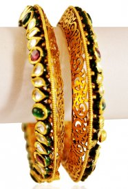 22KT Gold Antique Kada(2pcs) ( 22K Antique Bangles )