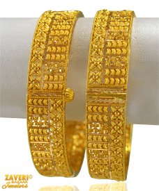 22k Gold Indian Filigree Kada 2PCs ( 22K Gold Kadas )