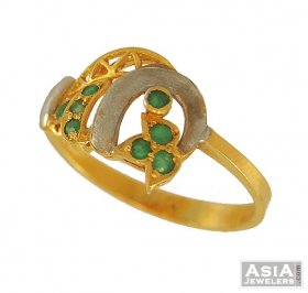 Gold Two Tone Ring with Emerald ( Gemstone Rings )