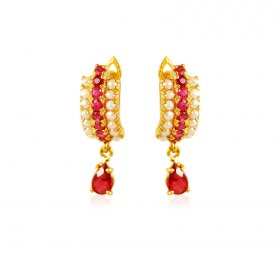 22kt Gold Ruby Pearl Earrings  ( Gemstone Earrings )