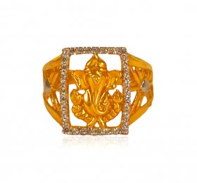 22 Karat Gold Ganesha Ring ( Gold Religious Rings )