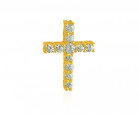 Gold Cross Pendant with CZ