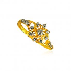 22Karat Gold ring with cz for ladies.