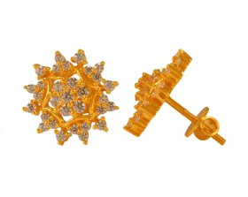 22 Kt Gold Cubic Zircon Earrings ( 22K Gold Tops )