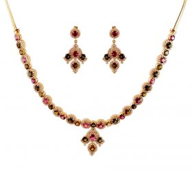 18k Tourmaline With Diamond Set ( Diamond Necklace Sets )