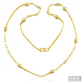 22k Fancy 2 Tone Gold Ball Chain