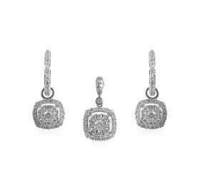 18kt White Gold Pendant Set  ( Diamond Pendant Sets )