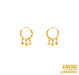 22K Gold Hoops Beads Earing ( 22K Gold Hoops )