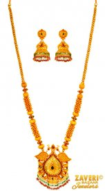 22 kt Gold Traditional Temple Set ( 22K Antique Necklace Sets )