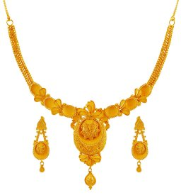 22k Yellow Gold  Necklace Set ( 22K Gold Necklace Sets )